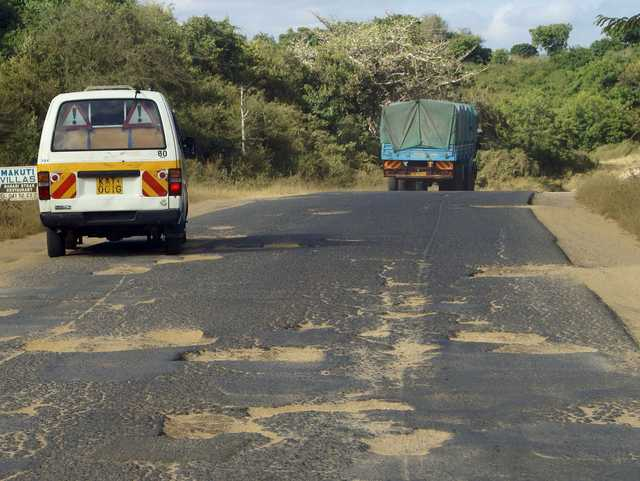 Potholes on road in Zambia